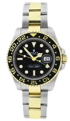 Rolex GMT Master ll 116713 Stainless Steel & 18K Gold Ceramic Bezel Black Dial Mens Watch