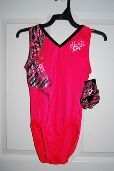 GK Elite Gymnastics Leotard - Gabby Douglas- Adult Large - Coral/Black #GKElite