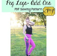 This is a PDF sewing pattern and tutorial to teach you how to create these leggings. THIS IS NOT A FINISHED PRODUCT.  Thisis an Add On/Supplemental pattern to the Peg Legs.  This will add on to the original to add more options :) Including: Side Panel, Color Blocked Side Panel, Side Panel Pocket, Waistband Pocket, Contoured Wasitband, and Gusset. Each option includes a cutline for low/mid rise and high rise. This pattern was a gift to all the wonderful P4P Facebook Group members...