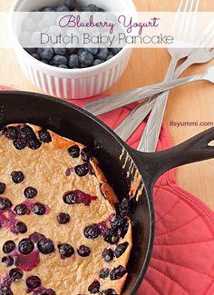 Quick, easy, and healthy brunch idea! Blueberry Yogurt Dutch Baby Pancake recipe from itsyummi.com #StonyfieldBlogger