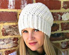 Ribbsta Hat Pattern for women using chunky yarn - Slouchy Beanie Crochet Pattern No.230 Digital Download