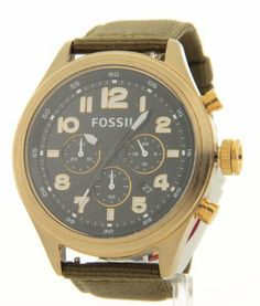 Fossil Classic Vintaged Chronograph Bronze and Olive Nylon Strap Mens Watch DE5018 Fossil. $82.95. Date Window. Chronograph