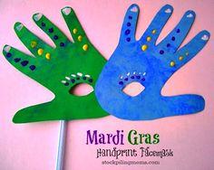 Brazil/Germany/New Orleans: Carnaval/Karneval/Mardi Gras Handprint Mask Craft Kids Crafts, Daycare Crafts, Preschool Crafts, Arts And Crafts, Craft Kids, Kids Fun, Face Masks For Kids, Mardi Gras Decorations, Mardi Gras Party