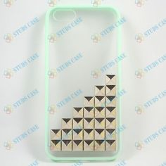 Studded iPhone 5C Case,Iphone 5C /5S case, iPhone 5C/5 Cover Silver Pyramid Studs Mint green Frosted Translucent iPhone case,Studded Cases on Etsy, $9.99