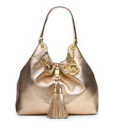 Camden Large Metallic-Leather Drawstring Shoulder Bag   Michael Kors