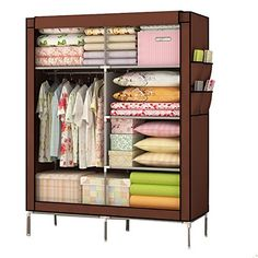 Mow-Wow Dustproof Wardrobe Christmas Gift Fashionable Closet Organizer Collection Multilayer Shelves Clothes Storage Organizer  sc 1 st  Pinterest & Generic New Double Portable Wardrobe Bedroom Clothes Hanging Storage ...