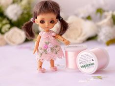 Lati white doll 3,5 inches Mini pink silk dress crochet Tiny BJD Lati white clothes Mini doll outfit  Crochet doll clothes Miniature doll