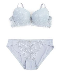 Look what I found on #zulily! Gray Medallion Lace Bra & Briefs #zulilyfinds