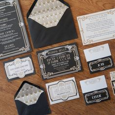 Art Deco wedding stationery set. These pretty black and gold 1920s wedding invitations would be perfect for a great Gatsby inspired wedding. Also in this set are menu's, place names, wedding invite, bellyband, info booklets, drinks labels and elegant gold envelope inserts.