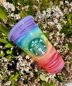 Rainbow Starbucks Cup / Rainbow Swirl / Epoxy / Lid and Straw Personalized Starbucks Cup, Custom Starbucks Cup, Starbucks Iced Coffee, Starbucks Plastic Cups, Rainbow Swirl, Coffee Bottle, Things To Buy, Epoxy