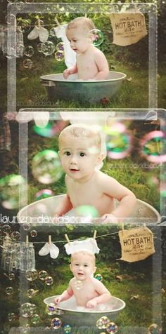 Unique 3 month boy photo ideas. 6 month photo ideas. 9 month photo ideas. 1 year photo ideas for boy. Summer baby pictures. Baby in a wastub with suds and bubbles. Pictures with ivy and greenery. Toddler picture ideas. Vintage style baby pictures. Baby clothesline and burlap. Lauren Davidson Photography. by ebony
