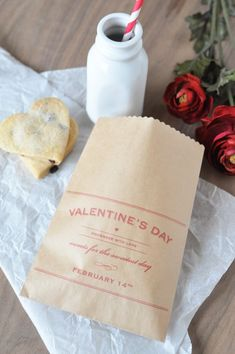 DIY Valentine Treat Bags!  Free Printable.  These are so simple and classy...I love the painted milk bottle as well...