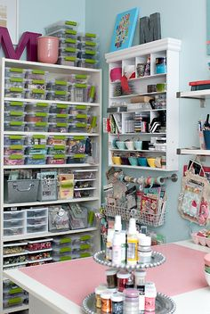 craft room - I use these bins from Target often in organizing - the labels are what makes them really functional