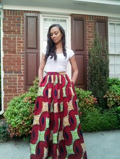African print maxi skirt by Melange Mode. Availabe at www.melangemode.etsy.com
