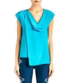 Cynthia Rowley Turquoise Drape Front Silk Top by Cynthia Rowley #zulily #zulilyfinds