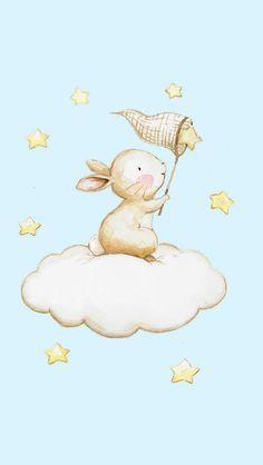 Capture The Rabbit Stars – Scrapbooking-Bilder für Kindergärten – Hase Bunny Drawing, Bunny Art, Nursery Paintings, Nursery Art, Nursery Wall Decals, Animal Drawings, Cute Drawings, Scrapbooking Image, Cartoon Net