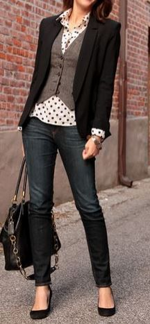 love the blouse, vest, blazer layering thats done here