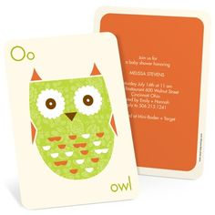 """O is for owl and """"W"""" is for whimsical. Put them together and you've got one stylish set of owl baby shower invitations!"""