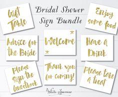 Gold Bridal Shower Signs, 8x10. Bridal Shower Decorations. Gold Bridal Shower. Bridal Shower Sign, signs for bridal shower, gold shower by WhiteSparrowPrints on Etsy https://www.etsy.com/listing/237381002/gold-bridal-shower-signs-8x10-bridal