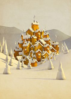 environment, houses, village, winter, snow, trees, yellow, white, illustration, 3d, game, design, town, hill