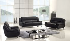 Black Leather Sofa Couch Loveseat Chair Tufted Modern Living Room Set
