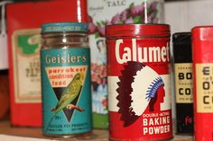 Vintage tins are the perfect accent for the retro kitchen. This color combination is fantastic!