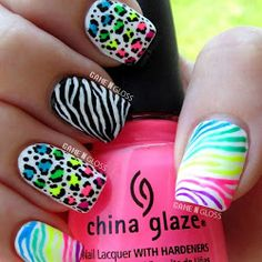 Cool summer neon nail art - IG gamengloss FB GAME N GLOSS i like your nails they are pretty Neon Nail Art, Neon Nails, Cute Nail Art, Cute Nails, Pretty Nails, Gorgeous Nails, Summer Nails Neon, Leopard Nail Designs, Leopard Nails