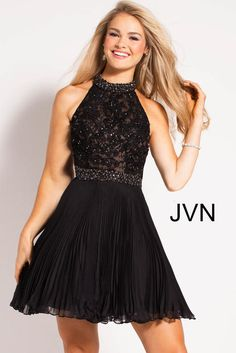 JVN by Jovani Homecoming Black Beaded High Neck Bodice Pleated Short Dress Dressy Dresses, Modest Dresses, Sexy Dresses, 8th Grade Formal Dresses, Banquet Dresses, Social Dresses, Short Cocktail Dress, Cocktail Dresses, Sweet 16 Dresses