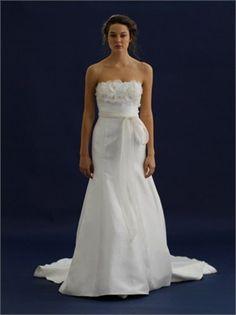 Enchanting Strapless Natural Waist Bow Blet Satin A-line Small Train Wedding Dress WD1930 www.tidebridaldresses.com $235.0000