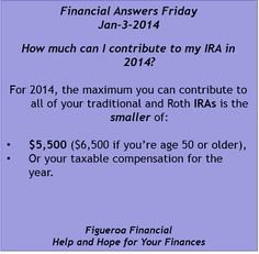 Welcome to Financial Answers Friday (Jan-3-2014)! #IRAs