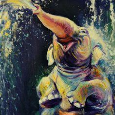 Joy, A4 Fine Art Happy Elephant in Water Painting Print