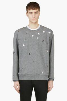 McQ Alexander McQueen Grey Studded Crewneck Sweatshirt for men |