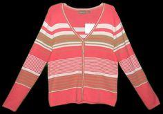 Sweater V Neck Striped Women's L Salmon Khaki White NWT $27.50