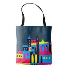 Colorful House Reusable Tote Bags #reusable #bags