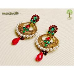 Online Shopping for Antique Earring - Red green Gold | Earrings | Unique Indian Products by Maitri Crafts. AME  - Antique Earring - Red green Gold Length : 8 cm, Breadth at the center : 3.5 cm