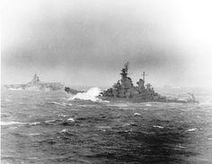 #Battleship New Jersey (BB-62) & aircraft carrier #Hancock (CV-19) take a pounding in heavy seas on 8 Nov. 1944. Photographed from the aircraft carrier #Intrepid (CV-11).