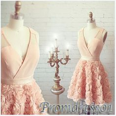 #promdress01 prom dresses, xexy V-neck sleeveless chiffon short prom dress for teens,homecoming dress,occasion dress #prom2k15 -> www.3cgirls.com/... #coniefox #2016prom