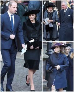 The Duke and Duchess of Cambridge, the Prince of Wales, the Duchess of Cornwall and Princess Eugenie at the memorial service for the sixth Duke of Westminster today.
