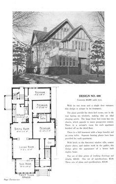 United States, c. Design No. 699 A large. - Vintage Home Plans Cottages And Bungalows, House Plans, Floor Plans, United States, Houses, How To Plan, Vintage, Design, Homes