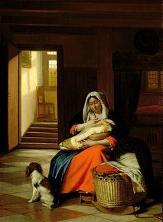 Mother Painting - Mother Nursing Her Child by  Pieter de Hooch