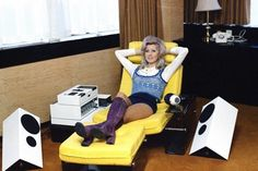 Jenny Jacanello of Weybridge relaxes in a Peter Banks Stereo Chair, 1972
