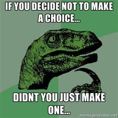 Philosoraptor - If you decide not to make a choice... didnt you just make one...