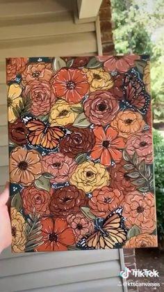 Art Painting Gallery, Diy Painting, Diy Canvas Art, Acrylic Art, Art Techniques, Art Tutorials, Cool Art Drawings, Flower Art, Watercolor Paintings