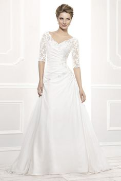 Ellis Bridals 12201 Delicate lace sleeve A line in chiffon over satin with soft pleating
