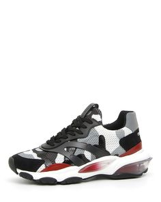 Valentino Garavani Garavani Bounce Leather, Suede And Mesh Sneakers - Gray In Lt Grey Valentino Men, Valentino Garavani, Valentino Shoes, White Jordan Shoes, Italian Fashion, Nike Huarache, Leather Sneakers, Camouflage, Things That Bounce