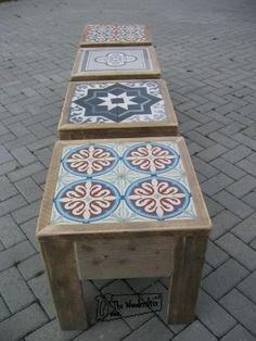 Diy home decor Diy Garden Decor, Diy Home Decor, Wood Projects, Projects To Try, Tile Tables, Tile Patio Table, Tile Art, Pallet Furniture, Decoration