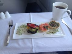Flying Qatar Airways. Light snack at the start of a long journey