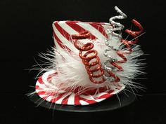 Red and White Striped Mad Hatter Mini Top Hat Christmas Tops, Christmas Hat, Christmas Costumes, Ugly Christmas Sweater, Handmade Christmas, Christmas Crafts, Christmas Ornaments, Halloween Costumes, Christmas Headpiece