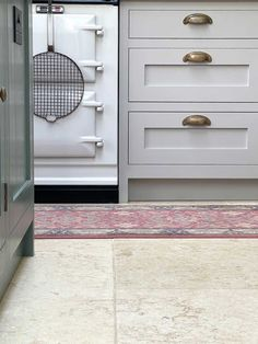 A post on why our limestone floor was the natural choice for kitchen — and how it works just as well with our green and grey painted Shaker kitchen, as it does with all the other rooms in our home. Head over to the blog for more pictures :) #limestonefloor #kitcheninspo #shakerkitchen #kitchen Limestone Paving, Limestone Flooring, Old Cottage, Mind Up, Luxury Vinyl Flooring, Shaker Kitchen, Grey Paint, Beautiful Wall, Green And Grey