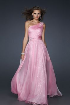 Prom Dresses One Shoulder Chiffon A Line Floor Length With Beading/Sequins